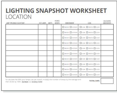 Lighting Worksheet location