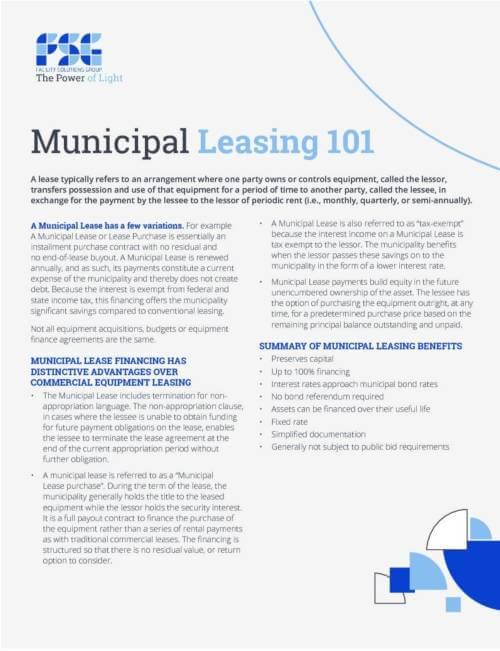 Municipal leasing 101